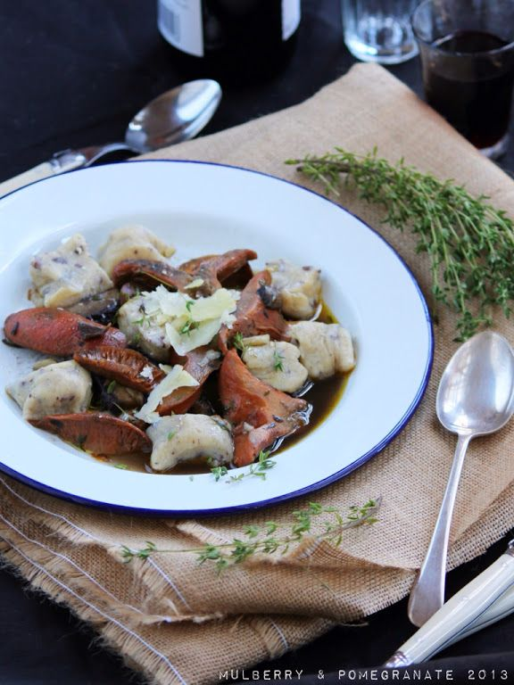 Mulberry and Pomegranate: Celebrating autumn: Olive gnocchi with saffron milk cap ragu