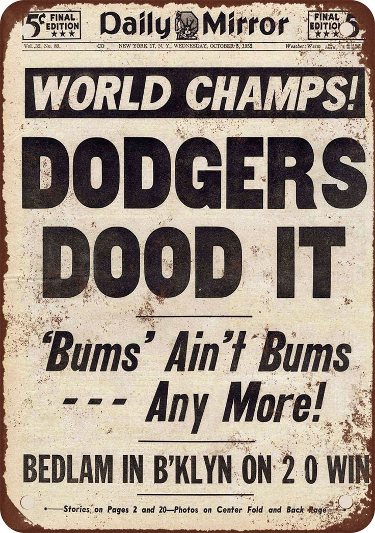 Find newspaper front page repros 1955 Brooklyn Dodgers Win World Series Vintage Look Reproduction Metal Sign | eBay
