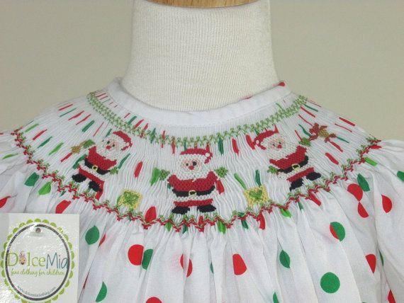 Smocked Christmas dress girls and infants Santa by handsmocked, $48.00