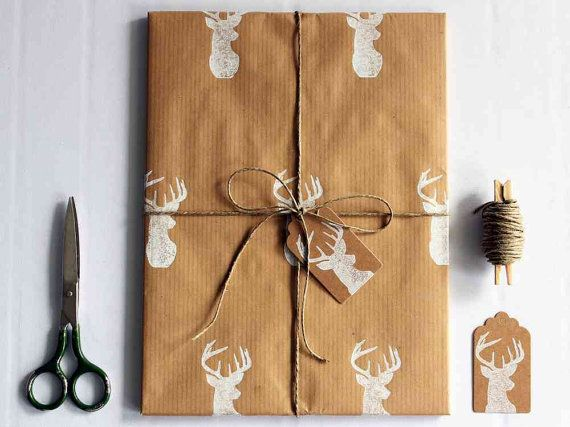 Christmas wrapping paper | Gift wrap set | 1 sheet of paper 70x100cm/27.5x39.5'' | 2 gift tags | 5m/5yd twine | Hand printed | White deer