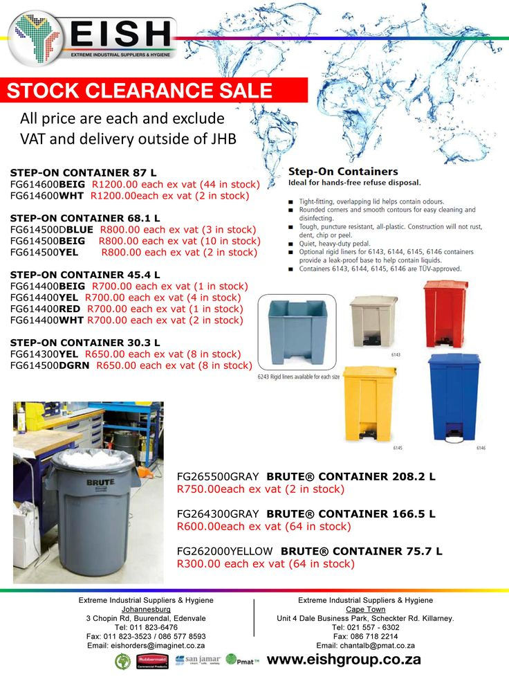 Never to be repeated again.  End of Range Rubbermaid Products.  Don't miss out on these great deals.   Order Now:  EISH CPT: 021 557-6302 chantalb@pmat.co.za   EISH JHB & KZN: 011 823-6476 eishorders@imaginet.co.za   #EISH #ClearanceSale