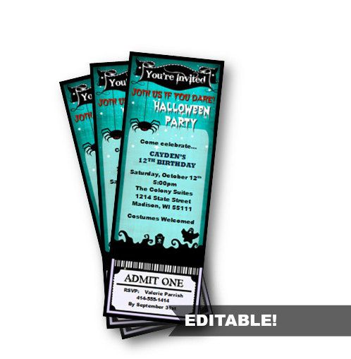 Halloween Party Ticket Invitation Birthday Costume by PinkPopRoxx