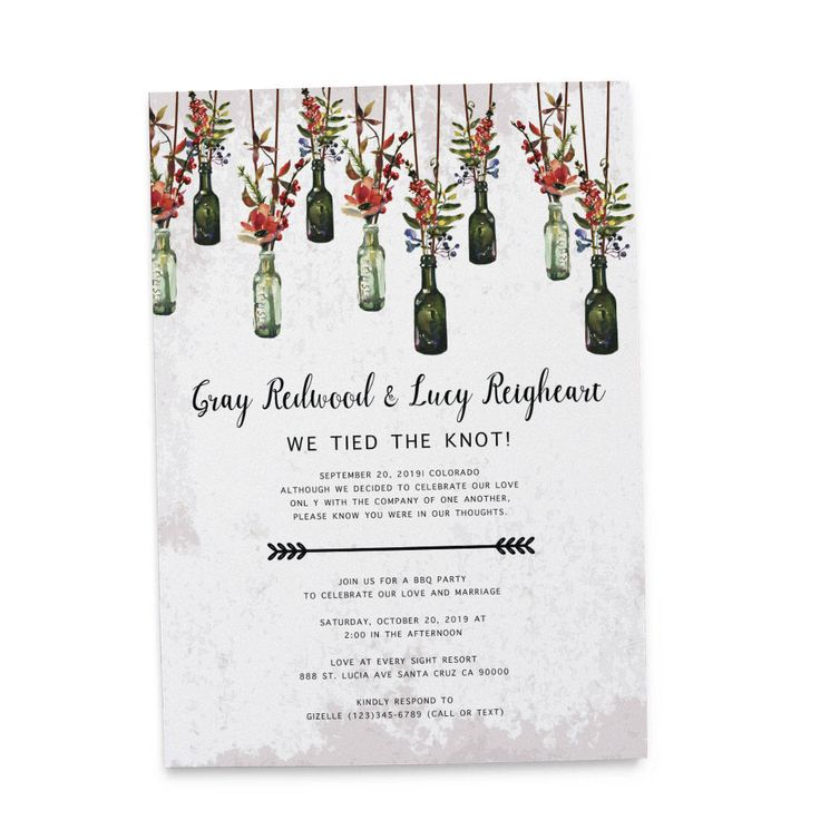 Hanging mason jar rustic wedding reception invitation cards