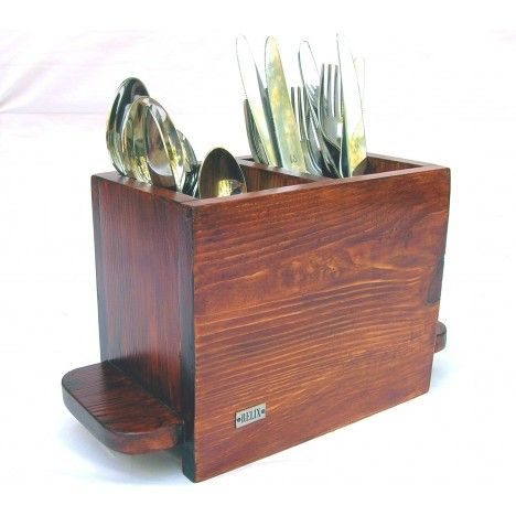 Relix Wooden Cutlery stand (Double compartment) Finish: Stain & Melamine Wood: Pine Price: $24