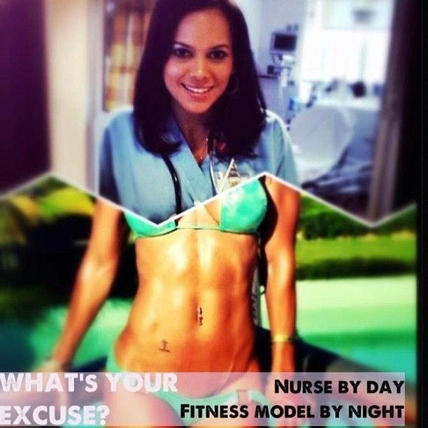 One of my motivations. I run into a lot of people in the healthcare industry that work 12 hour shifts, two jobs, night shifts and say they don't have the time to have a healthy lifestyle. Vanessa Tib is proof that it can be done! Follow her of you want to see her yummy food and inspirational photos. I also like her because she doesn't really compete its her lifestyle and she works out just to set goals personally for herself.