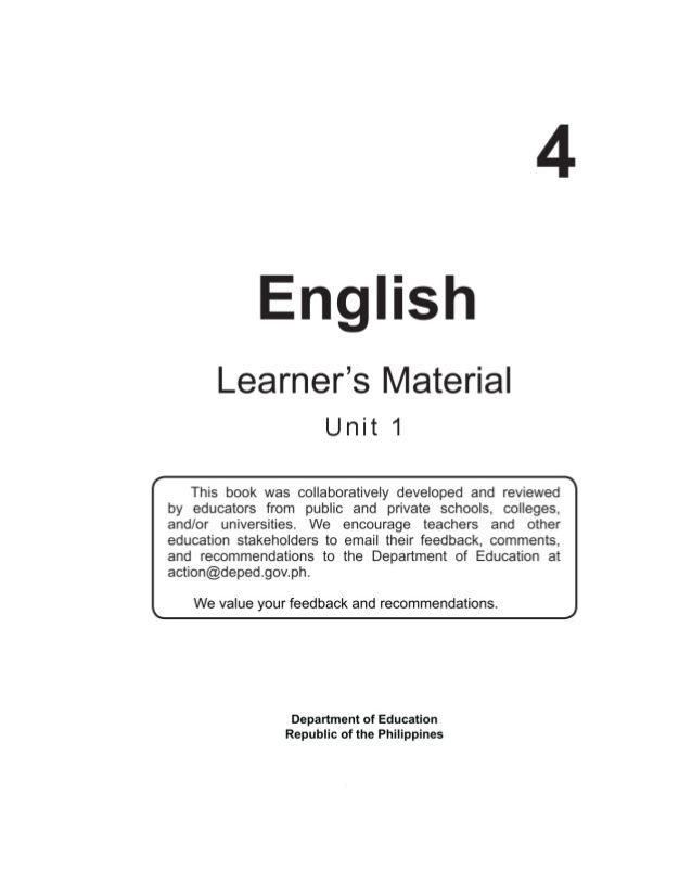 Deped Copyiienglish Grade 4learner S Materialfirst Edition