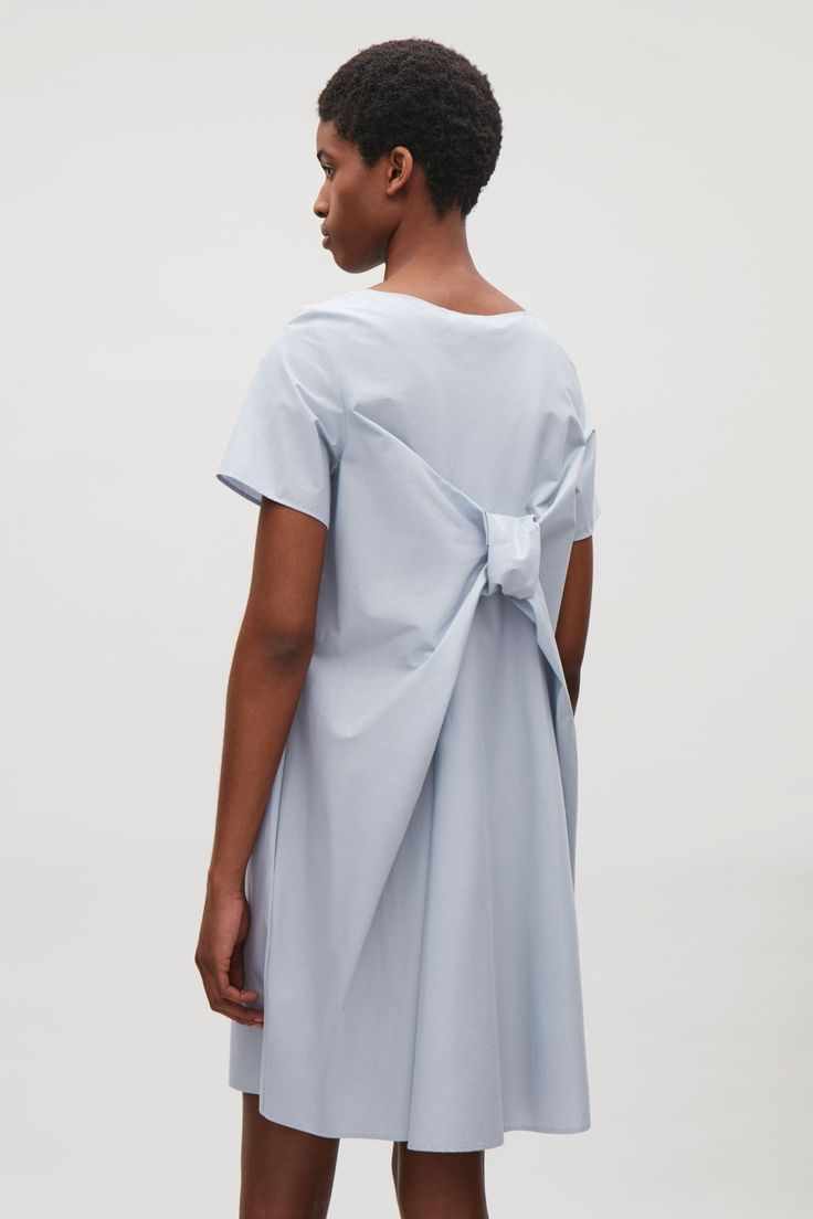 COS image 7 of Dress with draped back in Dusty Blue