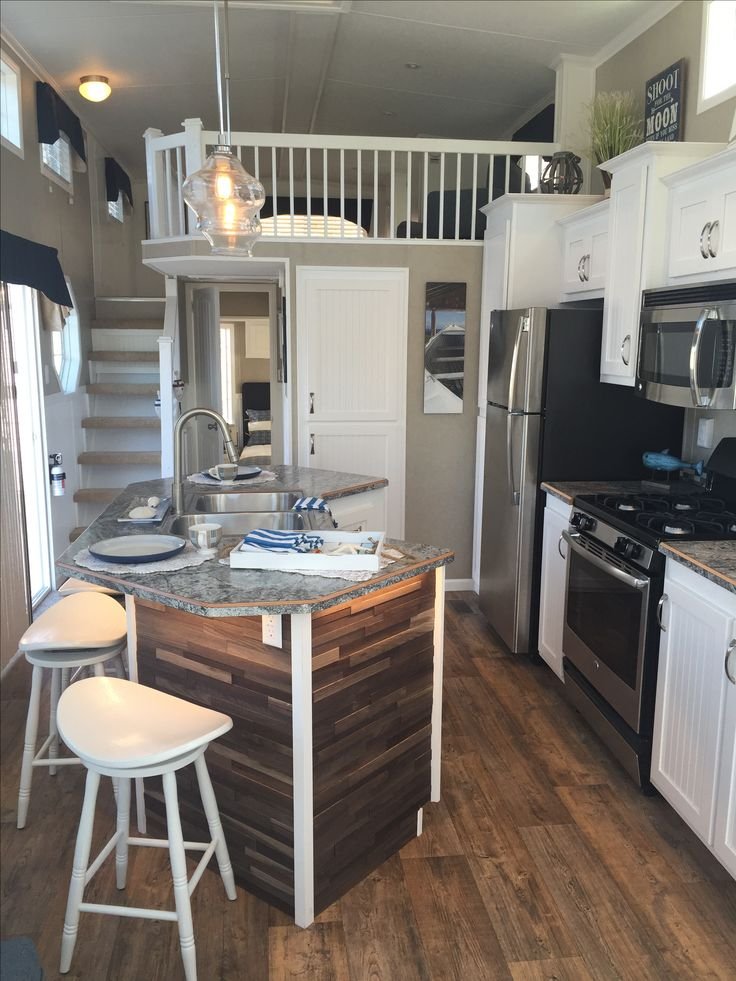 i like a island in a tiny house it opens up the kitchen kropf island cottage park model - Tiny House Interior Design Ideas