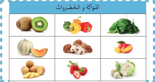 Les jeux pour apprendre l'arabe... Loto des fruits et légumes