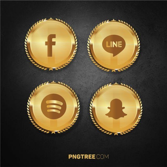 Luxury Golden Social Media Pack Set 2 Social Social Media Media Png And Vector With Transparent Background For Free Download Social Media Pack Social Media Icons Media Icon
