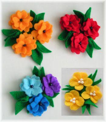 CzaryMaryDori: Broszki z filcu - kolorowe kwiatki / Felt flowers broochs                                                                                                                                                                                 More