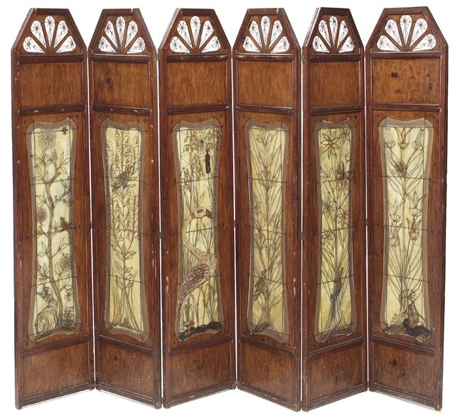 arts and crafts period screen six panel folding form probably austrian wired floral