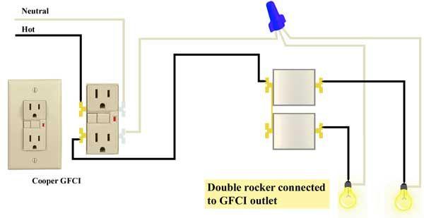 Wire double rocker switch to GFCI Wire switch, Wire, Diagram