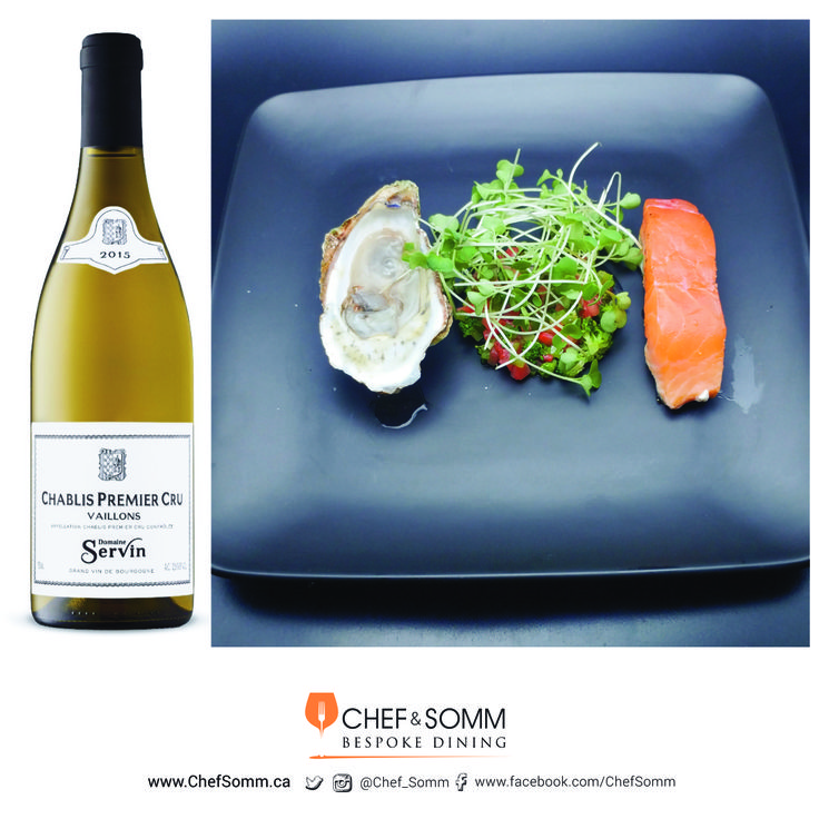 Chef Eyal Liebman's Dish: At the End of the Stream – Pan-seared Salmon with Green Pepper, broccoli and Strawberry Salad with Raw Lucky Lime Oyster. Paired with Domaine Servin Chablis, Vaillons Premier Cru, France, 2015 More about this pairing on our FB and IG pages @Chef_Somm