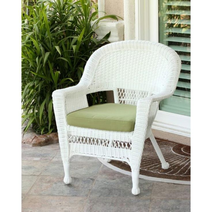 36 White Resin Wicker Outdoor Patio Garden Chair With Green Cushion, Patio  Furniture Part 56