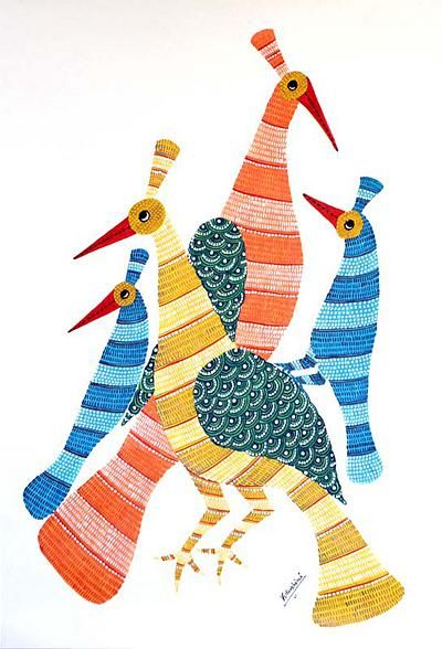 Gond painting, 'Happy Peacock Family' by NOVICA