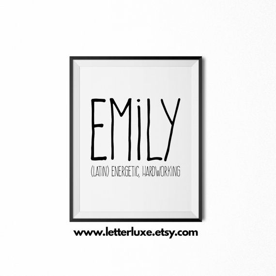 Emily Name Meaning Art  Printable Baby by LetterLuxePrintables