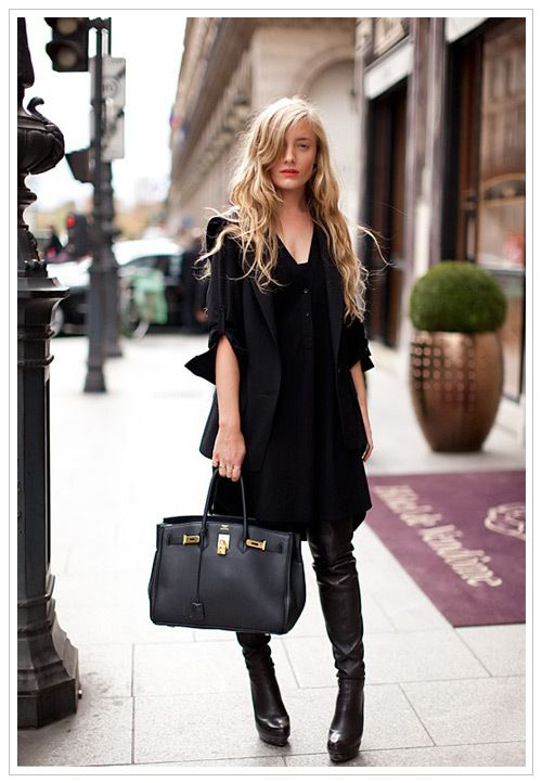 BLACK STREET CHIC: oversized t-shirt dress, leather knee high boots, relaxed long waves, red lipstick, finished off with a classic black hermes belkin bag