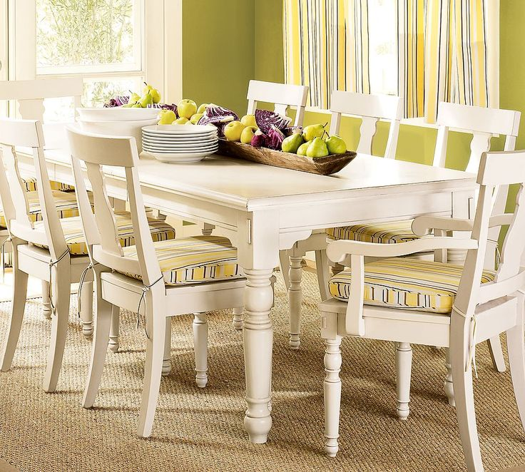 Dining Room, Off White Luxury Dining Table Set With Apple Green Decor: Cultivated Collection Of Classic Inspired Dining Room Design Ideas