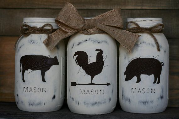 Farmhouse Trio Mason Jars-Rooster, Cow, Pig, Mason Jar, Centerpiece, Housewarming, Farmhouse decor, Wedding Centerpiece