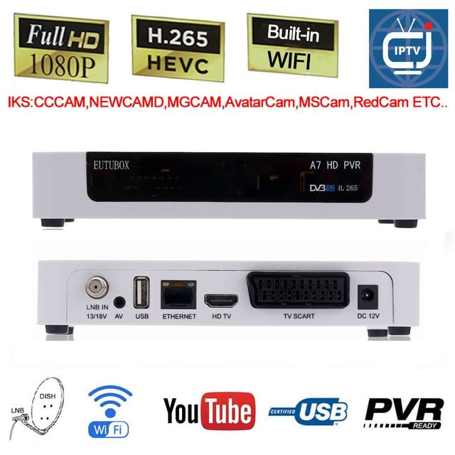 Eutubox A7 Dvb S2 Digital Satellite Receiver Box Built In Wifi Full Hd Pvr Support 3g H 265 Avs Hevc Iptv Youtube Cccam New Satellite Receiver Wifi Satellites