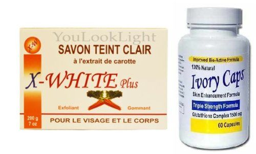 VISAGE DE CAROTTE X-BLANC ET SAVON 200G + Ivoire Casquettes blanchir la peau 1500mg Pills – X-WHITE CARROT FACE AND BODY SOAP 200G + Ivory C...