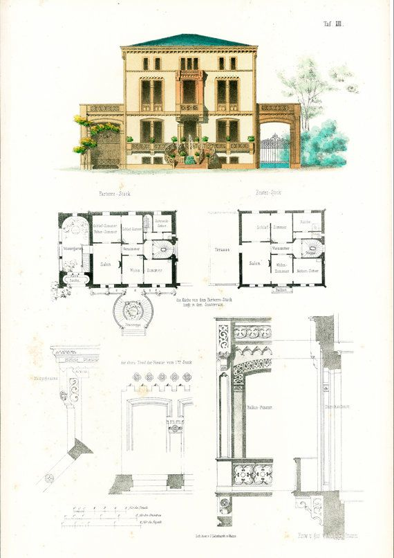 1854 maison moderne de ville plans d 39 architecte format a3 for Plan maison ancienne