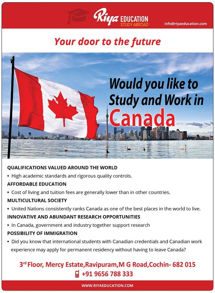 Would you like to study and work in Canada. Why wait? Get in touch with Riya Education and open your door to the future.  Visit our website http://www.riyaeducation.com/contact/ #overseaseducation #educationconsultant
