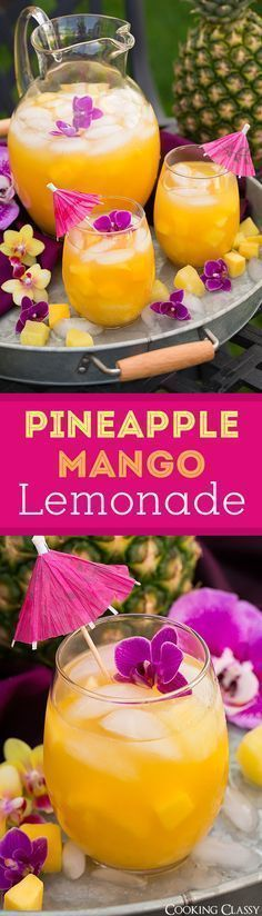 Pineapple Mango Lemonade - seriously refreshing on a hot summer day! Love this tropical twist on lemonade!
