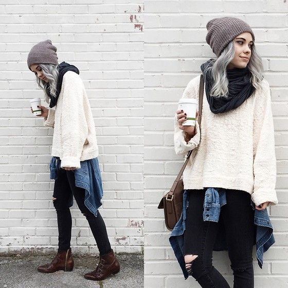Mary Ellen  Skye - Modern Vice Boots, Madewell Jeans, Urban Outfitters Hat, American Apparel Cowl - Traveler
