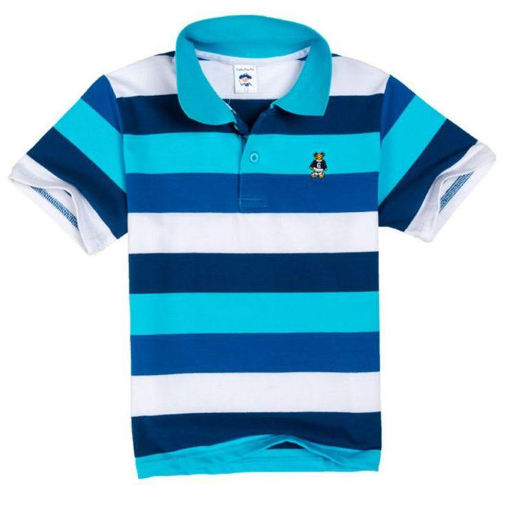 100% Cotton Children stripe Polo Shirt