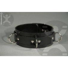 "SINVENTION RUBBER VEGAN SHINY BLACK COLLAR: Shiny and strong. All new to the Sinvention lineup is this black rubber vegan bondge collar. Perfect to compliment your latex outfit or if leather is just not your thing. The collar is 2"" wide and feature solid steel rivets and locking buckles. The edges are rounded for comfort.  SIZING INFO:  Regular fits  - 11"" to 16.5""  Large fits - 13"" to 18.5"""