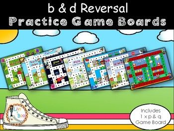 B & D Reversal Games - Included in this resource are 7 fun themed playing boards in which students roll the dice and collect the b's and d's as they move around the board. First player to collect 20 of each wins! Simple and fun! LOTS of repetition!