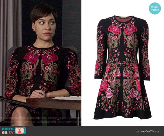 Lucca's black and pink floral dress on The Good Fight.  Outfit Details: https://wornontv.net/67679/ #TheGoodFight