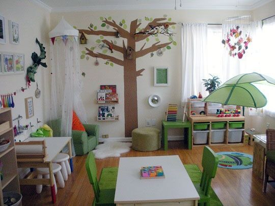 Name: At home daycare (2-5 years)Location: Long Beach, CA Color Inspiration: I saw a picture of a woodland themed nursery and I thought the green in it seemed so calming. I don't like primary colors on the walls or on furniture really. Because my room was going to be used as the daycare space, I wanted the space to feel calm and inviting. I think the green against neutral furniture does that. Rate this room's color below - voting is only activated for 48 Hours -- so don't delay!