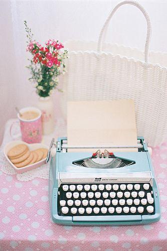 Pink Polkadots and Vintage Blue Typewriter