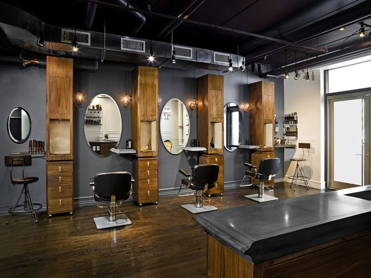 blackened cast concrete table floating shelves reception desk top and display surfaces for well known hair salon in manhattan the edges of the concrete - Hair Salon Design Ideas
