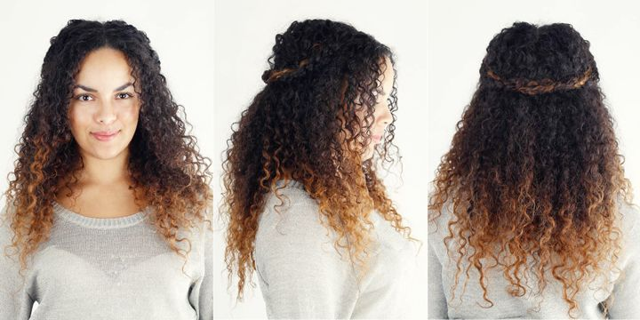 6 Must-Try Hairstyles for Curly-Haired Women ~ I like the  French Braid Top Knot