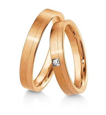 Breuning Trouwringen | Inspiration collectie gouden ringen | 4,0mm briljant prinses 0.06ct verkrijgbaar in 8,14 en 18 karaat | DR 48041710 / HR 48041720 OOK in wit geel en rood goud verkrijgbaar of in 2 kleuren goud #trouwringen #breuning #trouwen