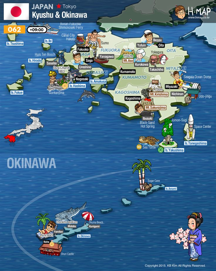 Kyushu Map & Okinawa Map / Illustration, Travel, History, Unesco, Animal, Man, Food, Industy, Culture, Nature...