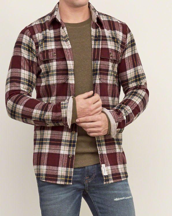 Burgundy Plaid Shirt Mens Custom Shirt