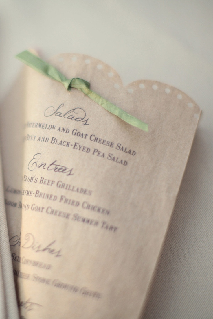 simple paper bags made into lovely menus totally in keeping with the organic feel of this wedding  Photography by http://ruettgers.com, Wedding Coordination and Design by http://eventsbymint.com: Kraft Paper, Wedding Photography, Green Ribbons, Floral Design, Paper Bags, Wedding Details, Style Me Pretty, Eventsbymint Com, Wedding Coordinating