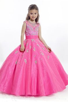 2015 Fuchsia bebé niña de las flores para fiesta bodas vestidos baile para niñas niños vestidos del desfile para las muchachas glitz