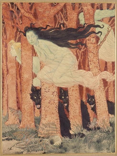 Trois femmes et trois loups, Eugène Grasset (1841-1917). Paris, musée des Arts décoratifs. Photo (C) RMN-Grand Palais / Agence Bulloz