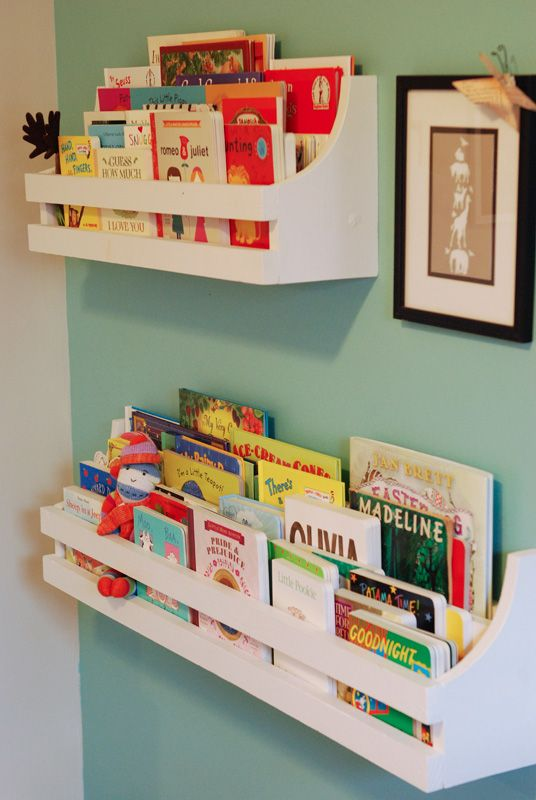 Bookshelves - screwed to the wall, these are a great space-saving way to organize the kiddos' books. Jill Ruth & Co