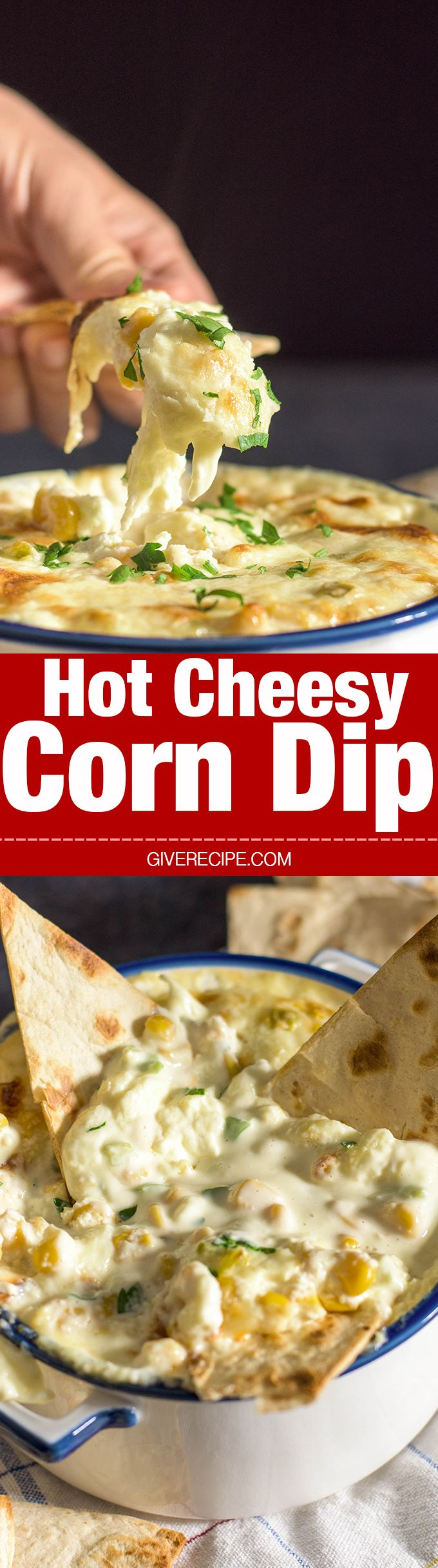 Hot Cheesy Corn Dip is super easy with just 5 ingredients. Prepared just in 5 min. So GOOD and creamy that everyone wants to eat the whole thing! - giverecipe.com