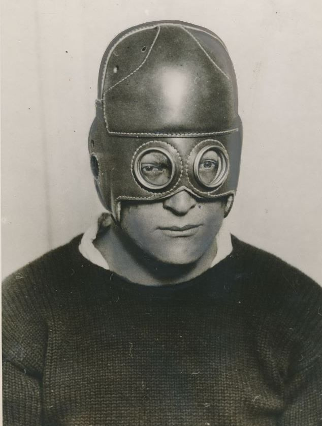 loverofbeauty:  Leather football helmet with built in glasses (1930)
