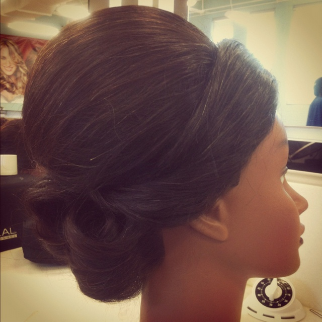 Bridal updo(: worked on it at cosmetology school today