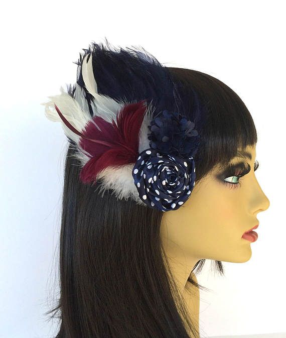 Navy Feather Fascinator Burgundy Feathers Polka Dotted Hair