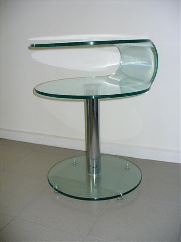$310 Ebay (Offer) NEW Clear Glass Round C Shape Bedside Occasional Lamp Side Table With Stand |